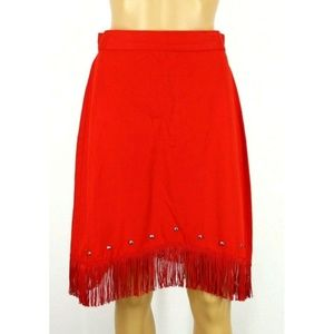 Vintage Wagon Wheels Women's Skirt Red Fringe